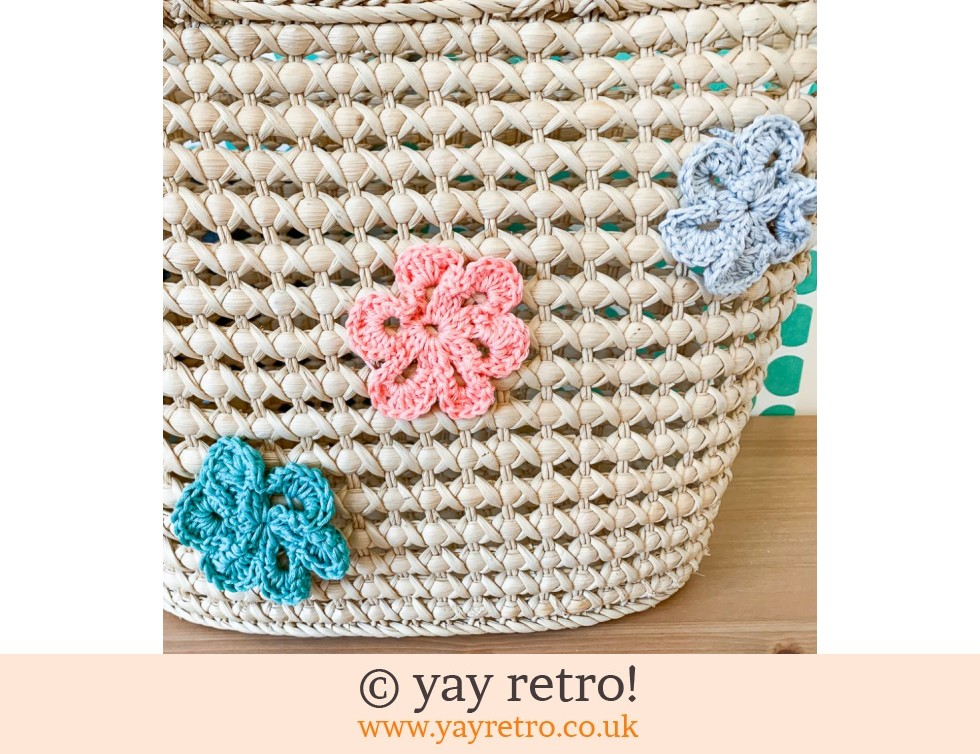 Crochet Flower Woven Shopping Basket (£8.00)