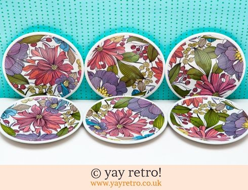 17: Rare 60/70s Invitation Tea Plates x 6 (£21.00)