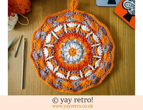 152: 70s Inspired Crochet Mandala Pot Holder - Orange (£12.95)