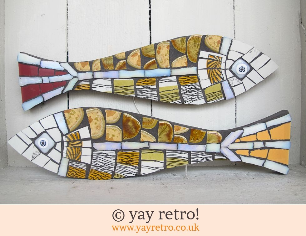 Fiona Glass: Pair Mosaic Midwinter China Fish (£48.00)