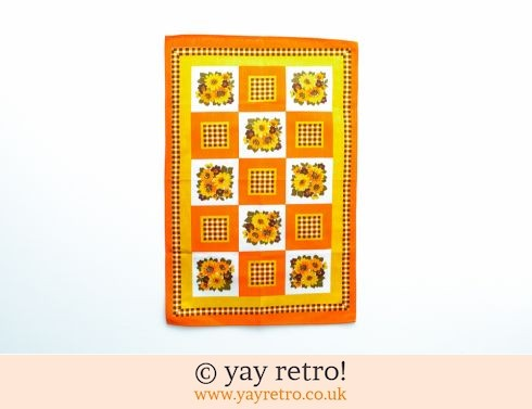 0: Orange Retro Flowery Tea Towel (£6.50)