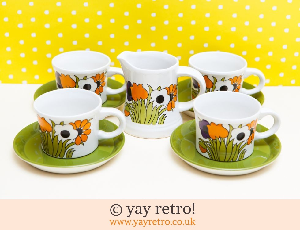 Funky Flowery Cups Saucers Set Vintage Shop Retro