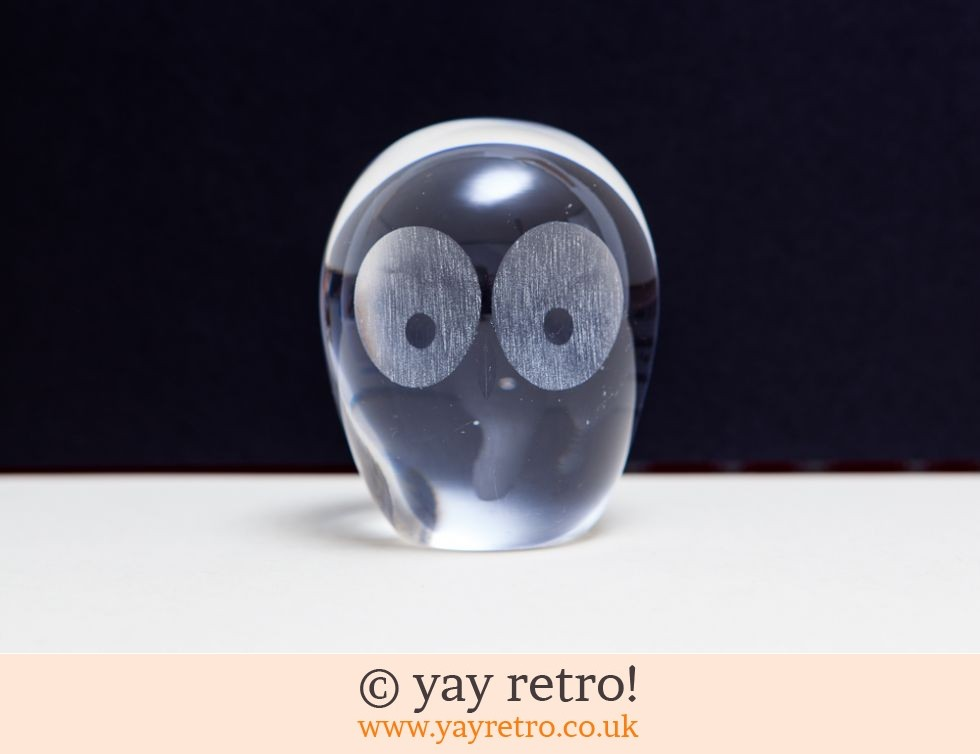 owl glass paperweight