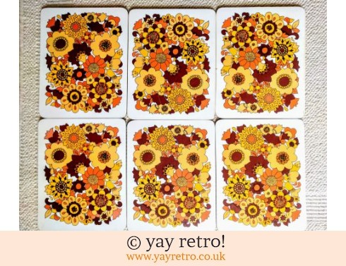 248: Vintage M&S Orange Flowery Table Mats x 6 (£24.00)