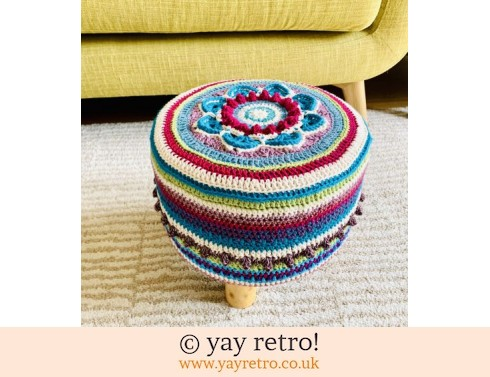 152: 'Blackberry' Crocheted Scandi Style Stool (£75.00)