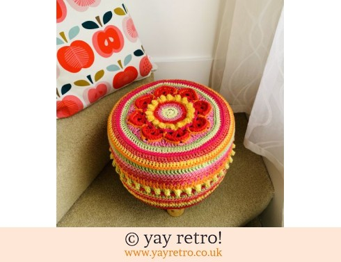 152: 'Fruit Salad' Crocheted Scandi Style Stool (£75.00)