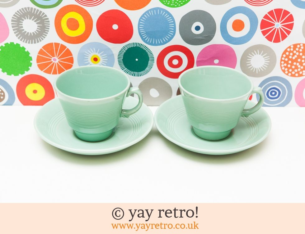 Woods Ware: 2 Beryl Tea Cups and Saucers (£9.00)