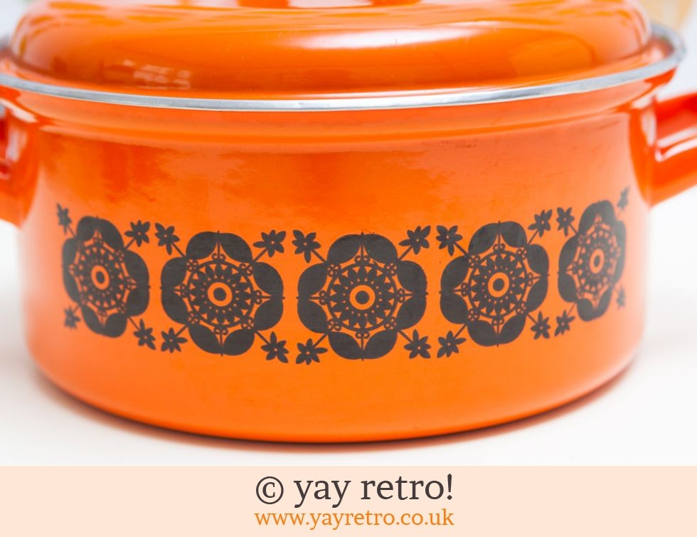 Bright Orange 70s Enamel Pan Casserole Buy Yay Retro