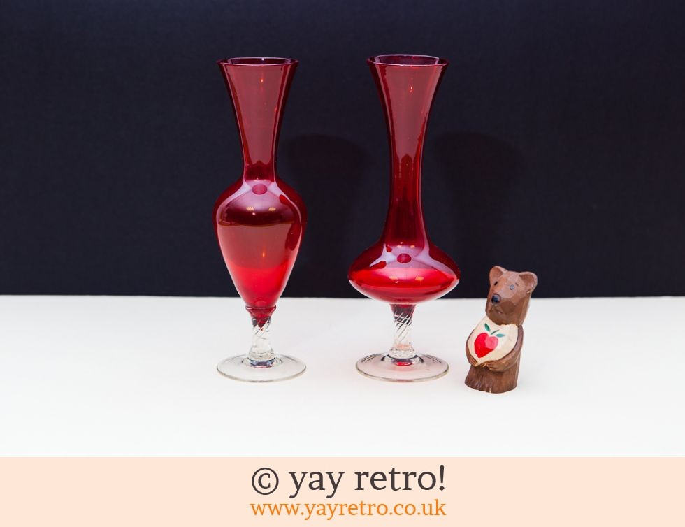 Pair Vintage Red Glass Vases Vintage Shop Retro China Glassware
