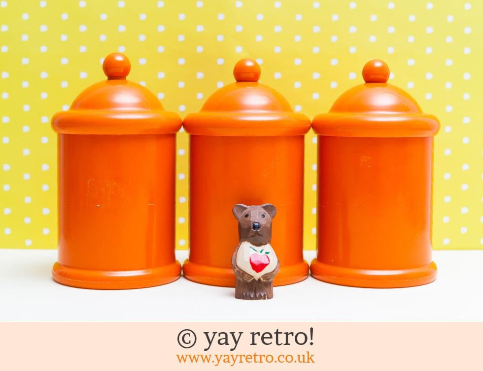 orange storage jars kitchen 3 x orange plastic storage jars vintage shop retro 3766
