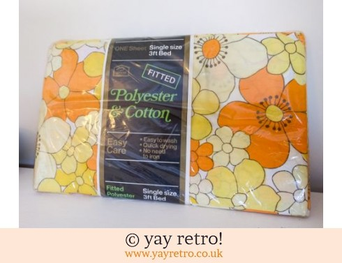 561: As New Vintage Orange Flower Sheet (£19.50)