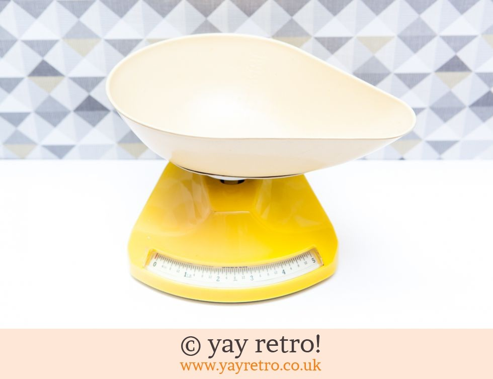 1950 60s Yellow Kitchen Scales Buy Yay Retro Handmade Crochet