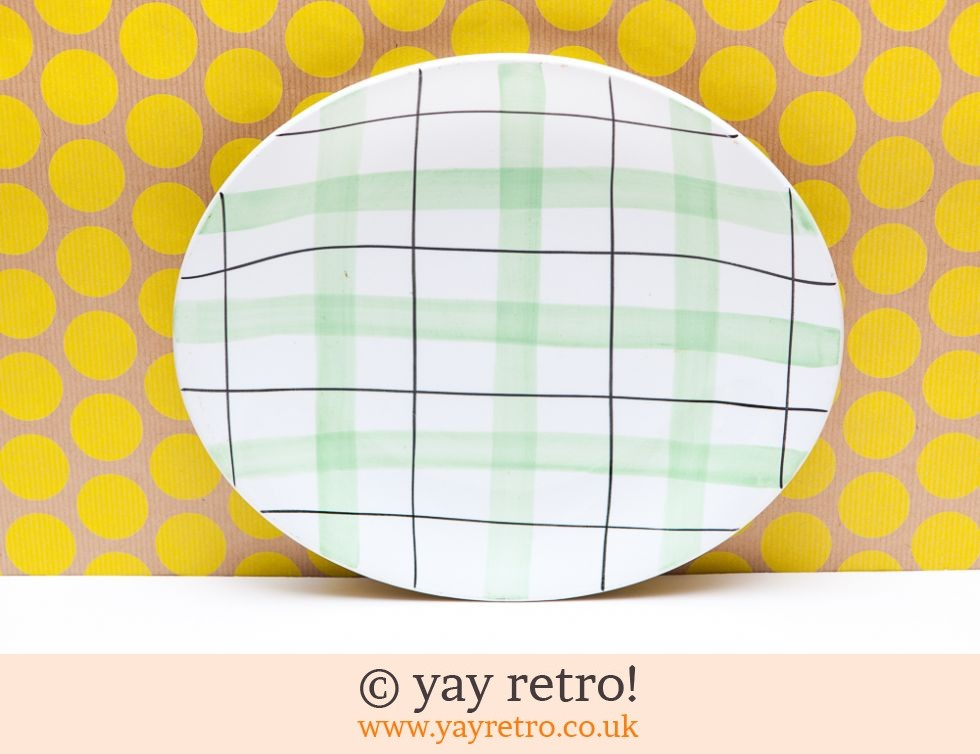 Green 50s Check Oval Dinner Plate (£10.00)  sc 1 st  Yay Retro & Green 50s Check Oval Dinner Plate - Vintage Shop Retro China ...