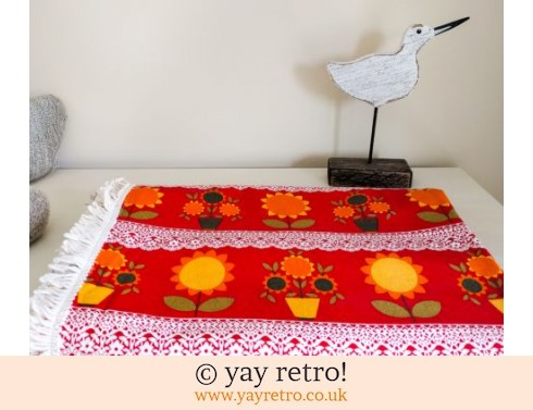 0: 1960/70s Flower Power Red Bedspread / Throw (£30.00)