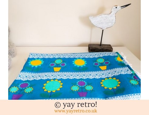 1960/70s Flower Power Blue Bedspread / Throw (£30.50)