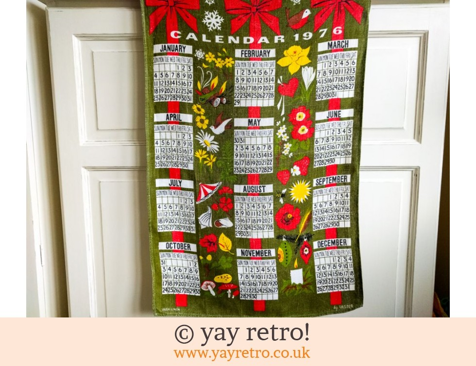 Vintage 1976 Fabric Calendar Buy Yay Retro Handmade