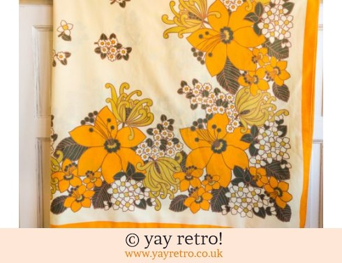 0: Orange Flower Power Tablecloth 1960/70s (£17.50)