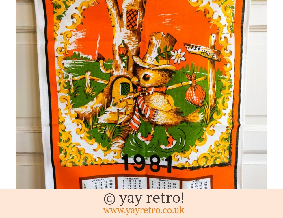 Vintage Cotton 1981 Orange Birdie Calendar (£12.00)