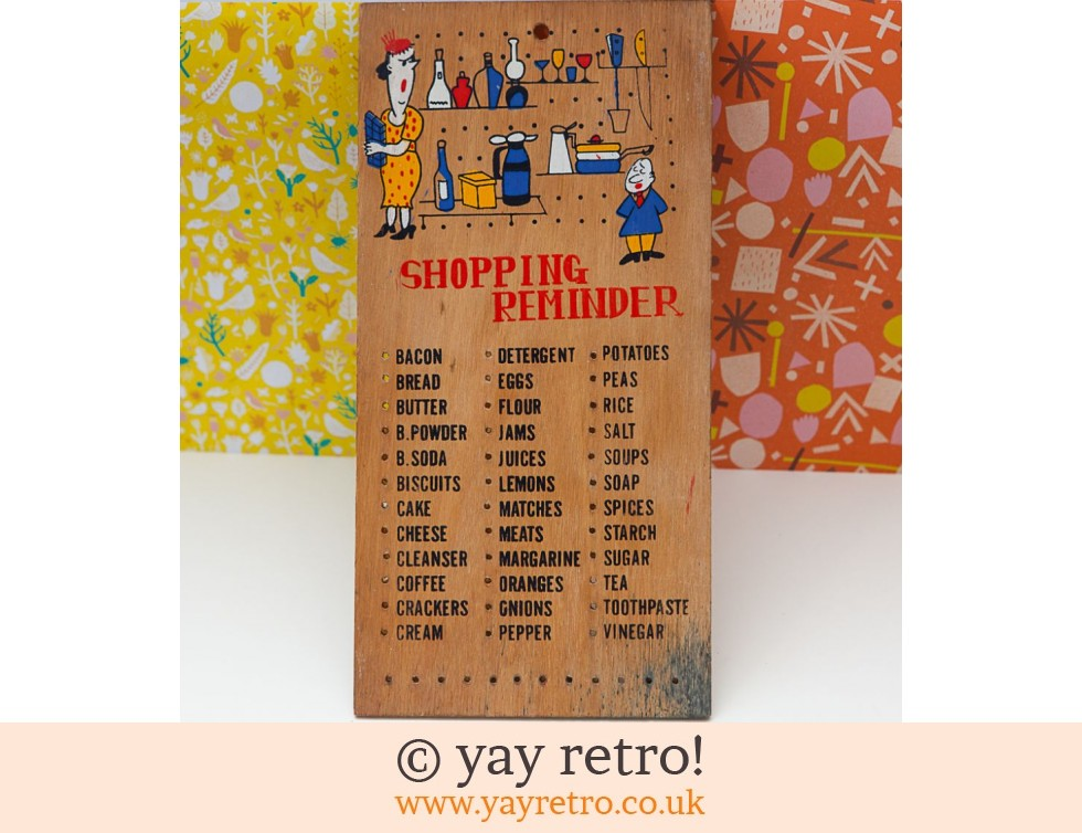 Vintage Wooden Shopping List Wall Hanging Buy Yay Retro