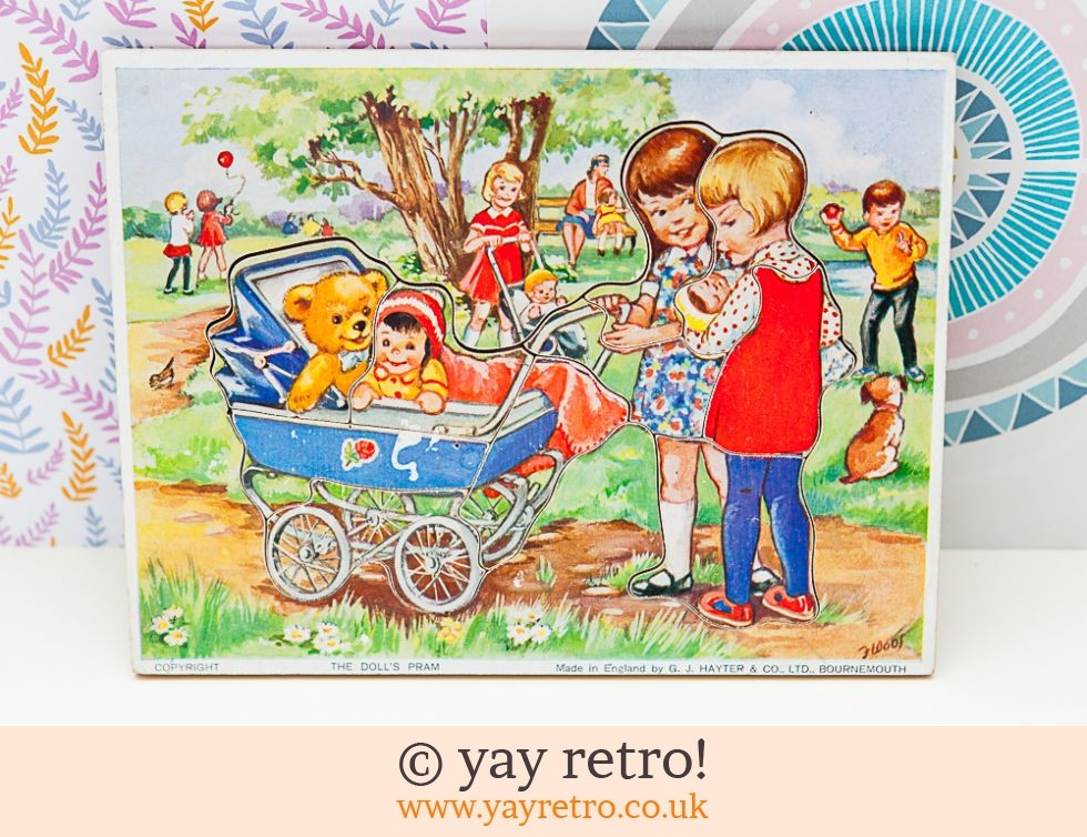 GJ Hayter: Vintage 60s Wooden Jigsaw The Dolls Pram (£12.00)