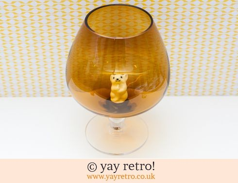 0: Amber Yellow Vintage Brandy Glass Vase & Mouse (£21.50)
