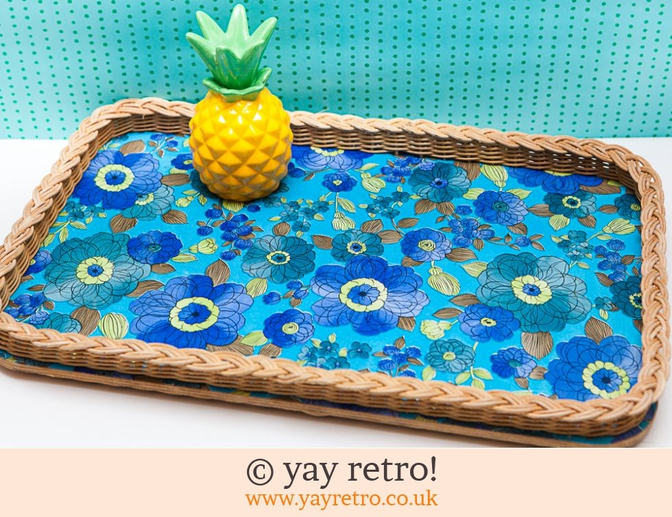 50/60s Wicker Blue Flower Woven Tray (£21.00)