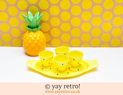 297: Lemon Polka Dot Egg Cup Stand Set 1950s (£16.00)