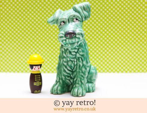13: Large Sylvac Green Terrier 8inch tall (£35.00)