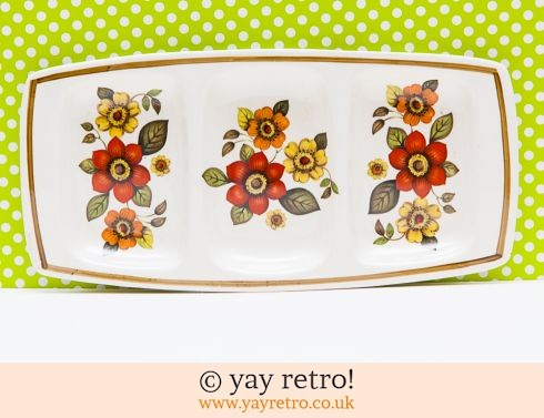 10: 70s Flowery Nibbles Dish  - Orange (£7.50)