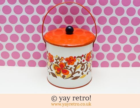 1960/70s Orange Flowery Biscuit Tin (£19.50)