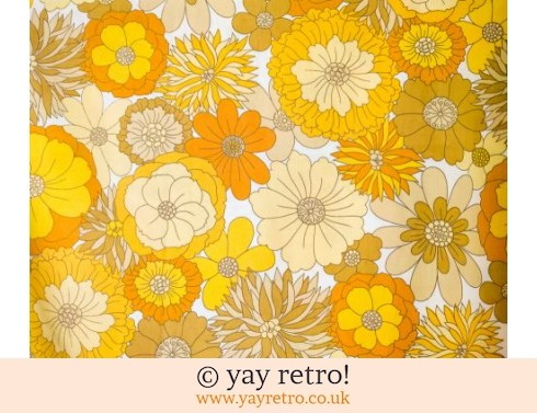 248: Vintage Yellow Flowery Double Sheet 60/70s (£29.00)