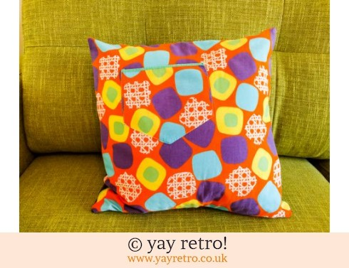 0: Orange Vintage Pocket Cushion - free teddy! (£12.50)