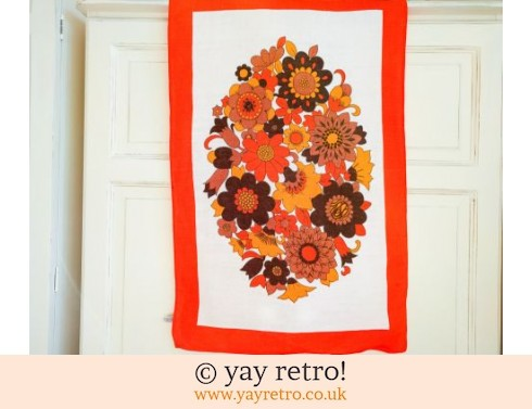 248: Orange Flowery Vintage Tea Towel 60/70s (£10.00)