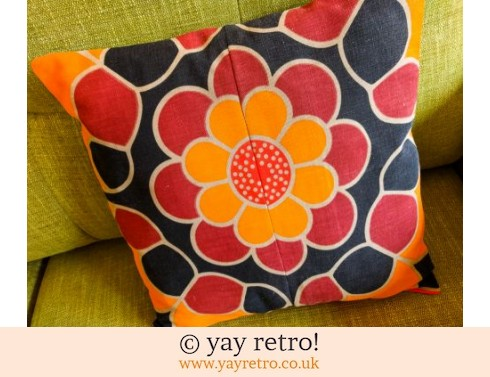 0: Orange Daisy Vintage Fabric Cushion (£14.00)