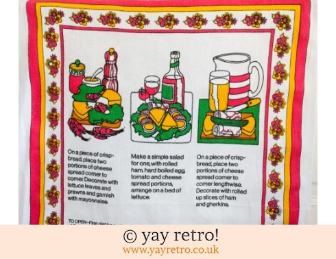 Vintage Flowery Cheese Tea Towel (£4.00)