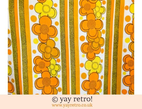 0: 1960/70s Orange Flower Curtain Panel (£10.00)