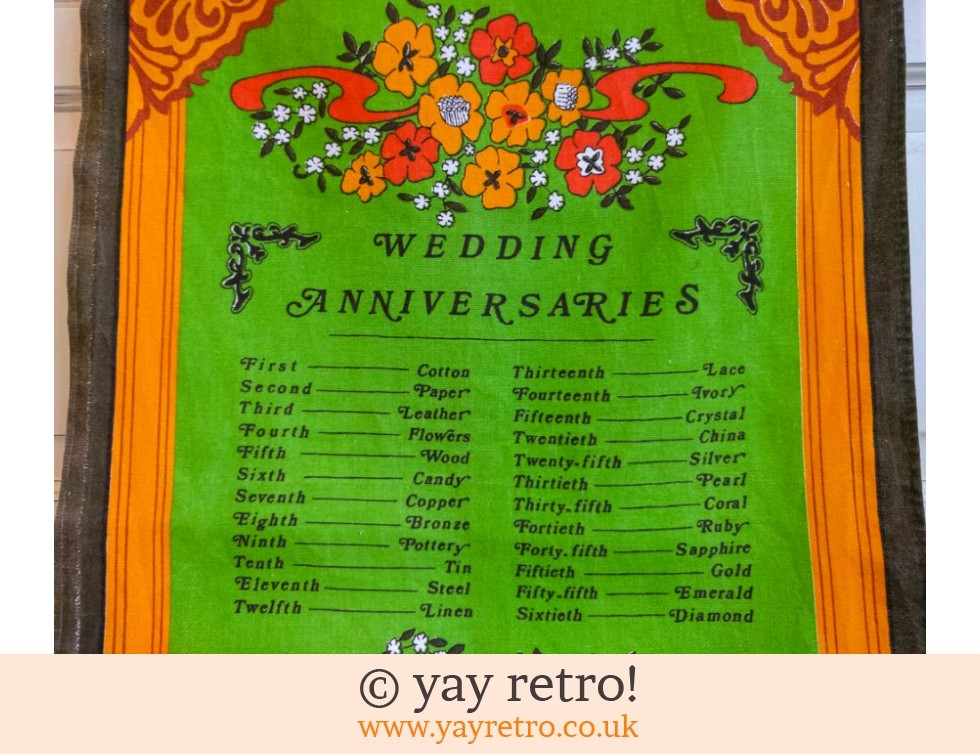Vintage Wedding Anniversaries Tea Towel (£8.00)
