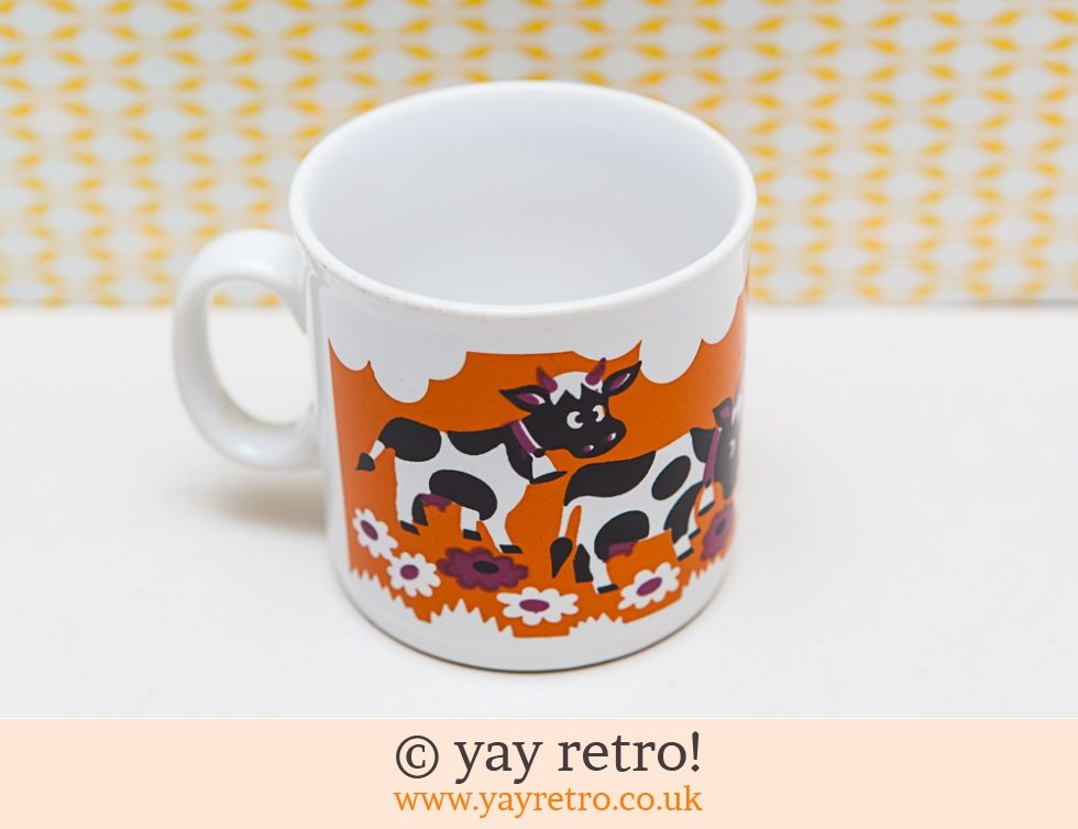 Staffordshire Pottery: 60/70s Collectable Orange Mug - Cows (£12.00)