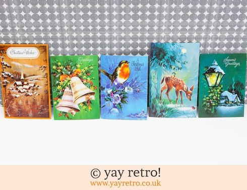 0: Genuine Vintage 60/70s Christmas Cards x 5 (£6.00)