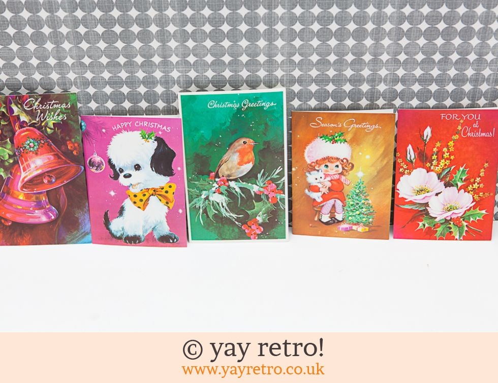 Genuine Vintage 60/70s Christmas Cards x 5 (£6.50)