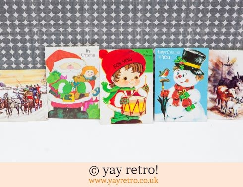 702: Genuine Vintage 60/70s Christmas Cards x 5 (£5.50)