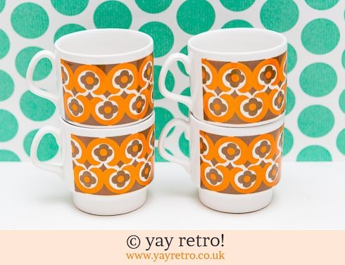 78: Vintage Cup/Muglets 70s Orange Flower Power (£20.00)
