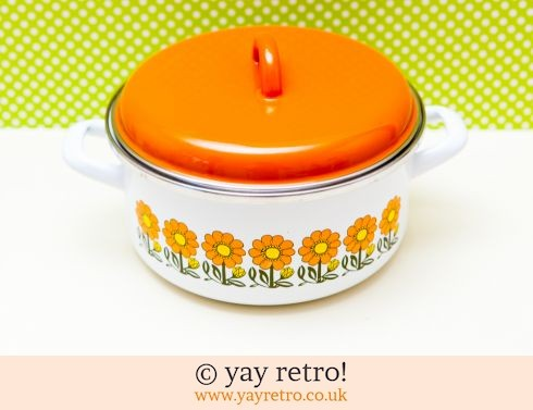 0: Orange Flowery Vintage Enamel Pan Medium (£17.00)