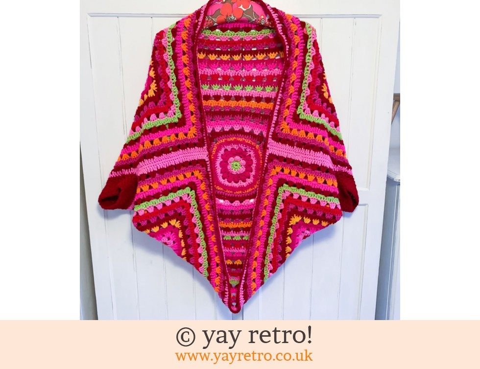 Red/Pink Bloom Cocoon Crochet Shrug (£75.00)