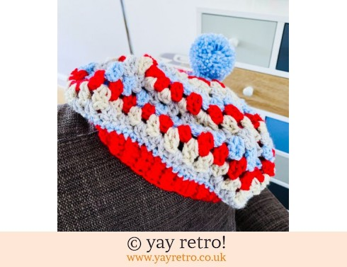 Crochet Beret with Pompom (£16.50)
