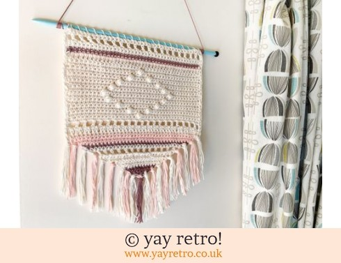 Boho Wall Hanging on Vintage Knitting Needle Hanger (£14.00)