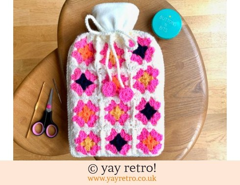 Crochet Flower Power Hot Water Bottle Set New (£18.50)
