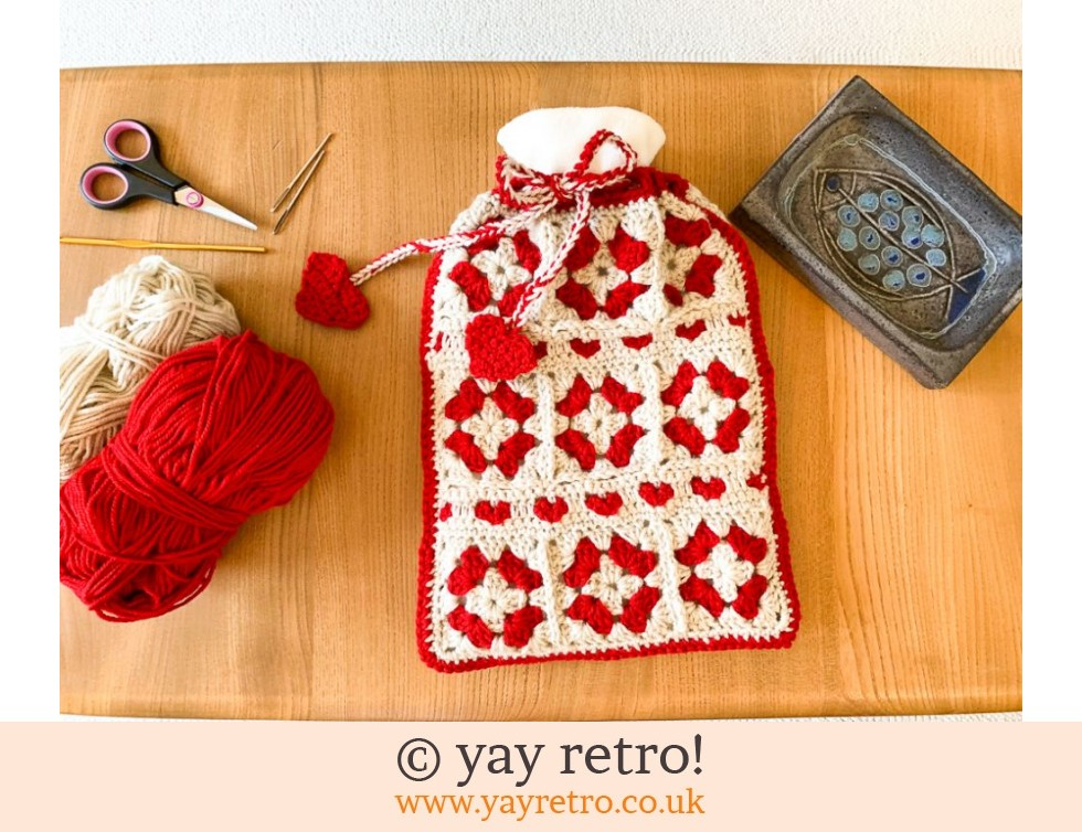 yay retro!: Hygge Hearts Crochet Hot Water Bottle (£18.50)