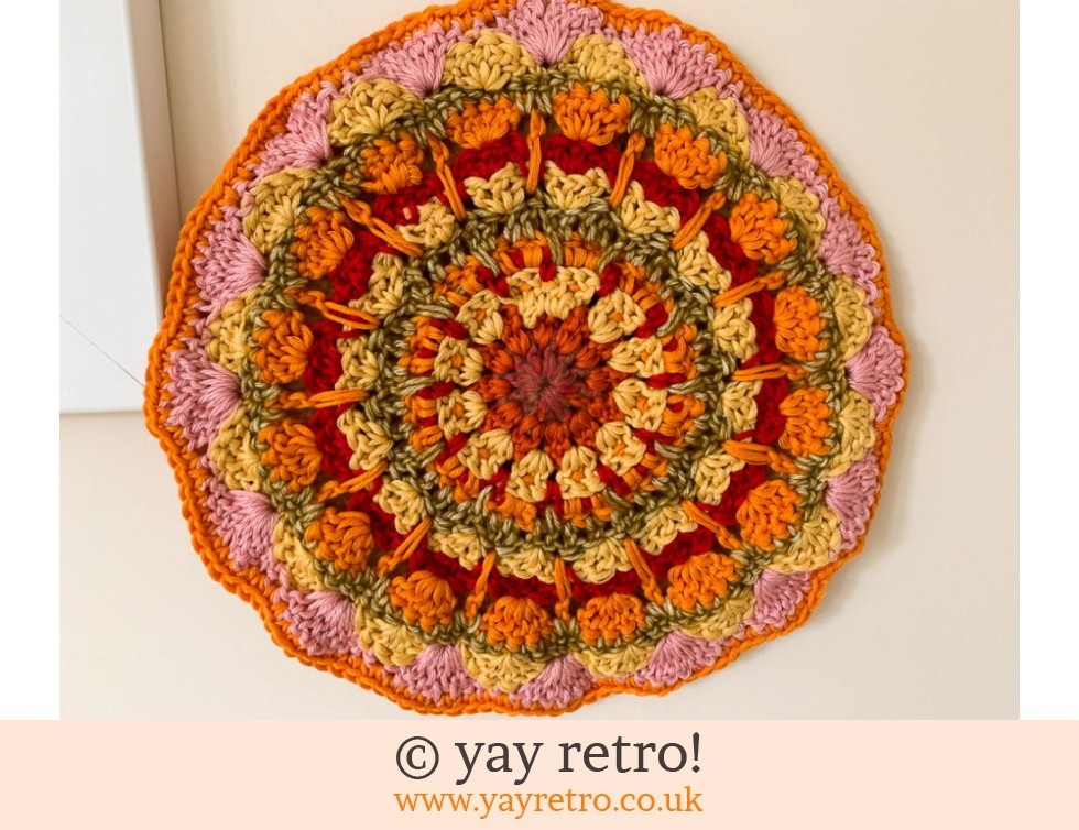70s Inspired Crochet Mandala Pot Holder / Stand (£13.95)