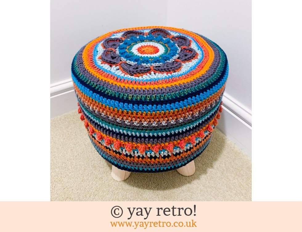 yay retro!: Unique Crocheted Scandi Style Stool - Special Order (£75.00)